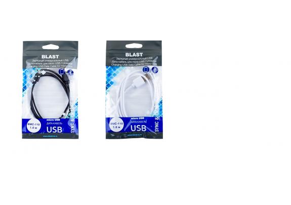 Дата-кабель BLAST BMC-110 micro USB/белый/черн/1м