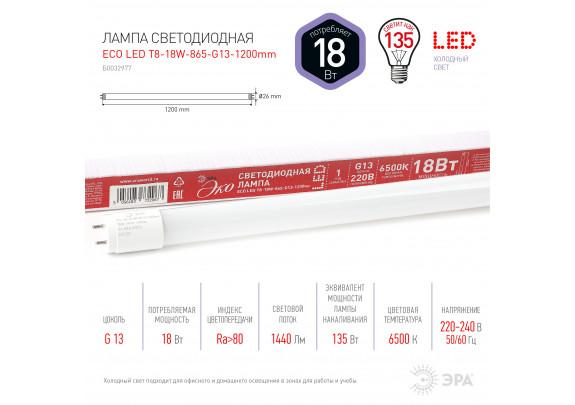 T8 LED18 ЭРА T8-18W-865-G13-1200mm ECO (хол,неп.)