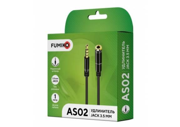 Аудио-кабель JACK  3,5мм FUMIKO AS02/черный/1м