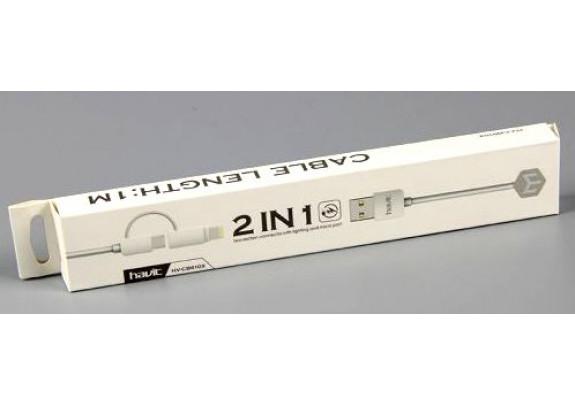 Дата-кабель HAVIT HV-CB610 microUSB+п-ик iPhone/1м