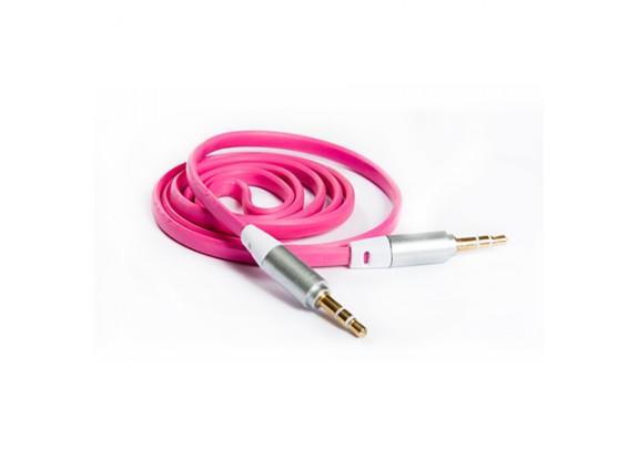 Аудио-кабель JACK  3,5мм/розов/плоский/1м