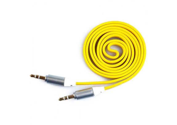 Аудио-кабель JACK  3,5мм/желтый/плоский/1м