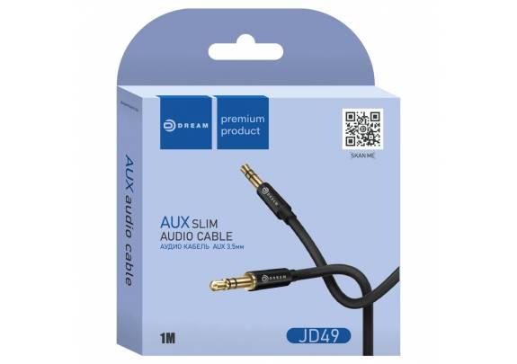 Аудио-кабель JACK  3,5мм DREAM JD49/черный/1м