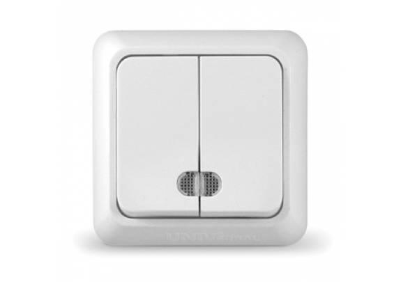 Выключатель 2-кл Олимп о/у/10А/220В/бел/подс/О0123