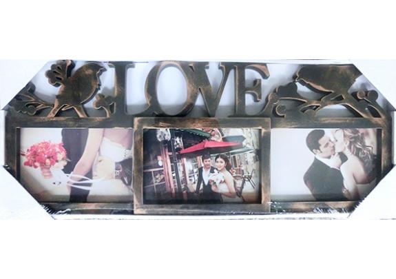 фоторамка Supper HY303G 3фото/LOVE/золото