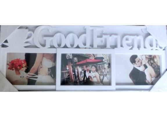 фоторамка Supper HY303W 3фото/Good Friends/белая