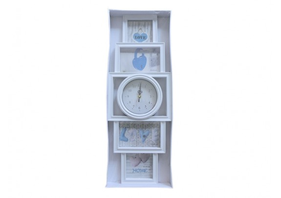 Часы 517-5D-2W 4фото/пластик/часы 15см/60см