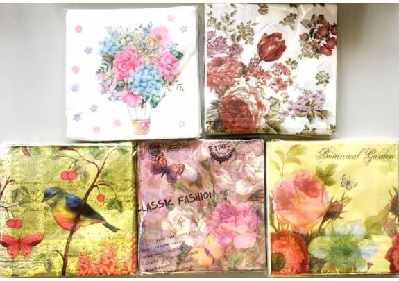 Салфетки 35252-5 двухслойные/20шт/Цветы