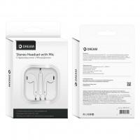 Стерео-гарнитура DREAM DRM-EP1-03 iPhone 5-8/бел