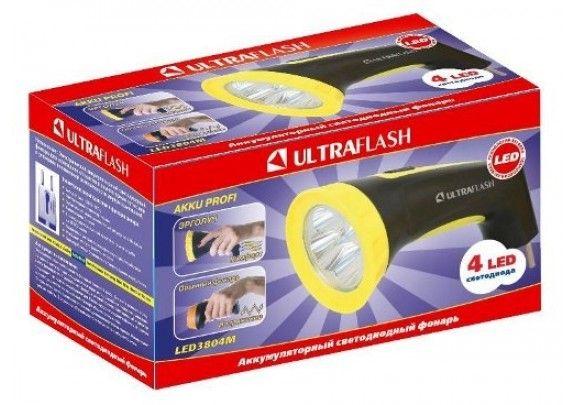 Фонарь Ultra Flash LED3804M акк/220В/4LED /5/80