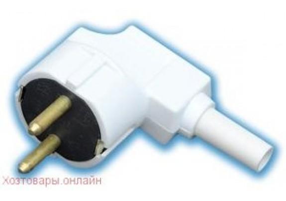 Вилка евро штепсельная В16-001 250V 16A (з) белая