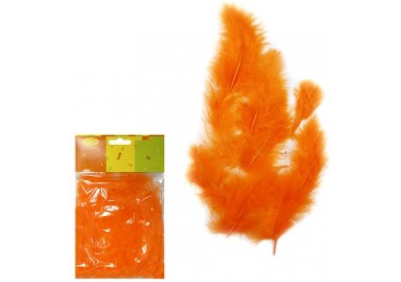Перья оранжевые 30шт
