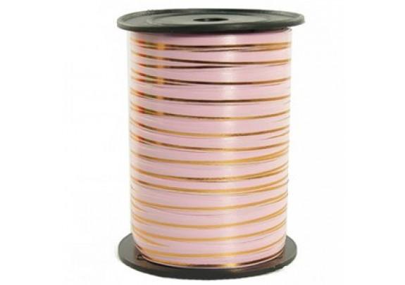 Лента Декоративная 5мм*230м  розовая/золото