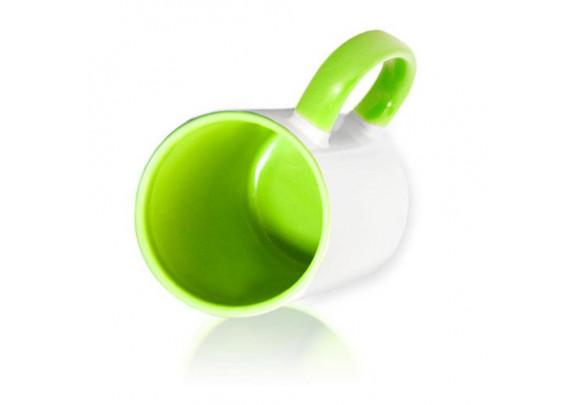 Кружка Внутри и ручка/Свет-зелёная
