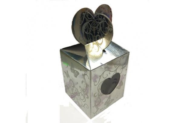 Коробка д/кружки/Сердечко/с окном/серебро/10423-2S