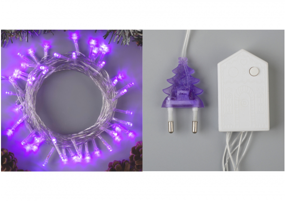 Электрогирлянда 50LED фиолет/5м/8реж/3556759