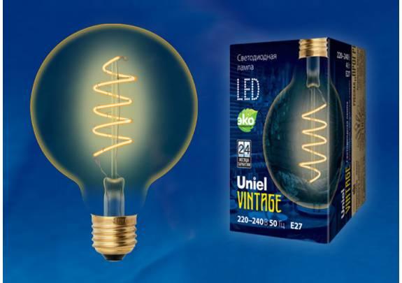 Винтаж LED Uniel LED-G95-4W/GOLDEN/E27/CW GLV21GO