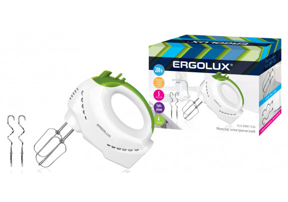 Миксер ERGOLUX ELX-EM01-C34 200Вт бело-салатовый