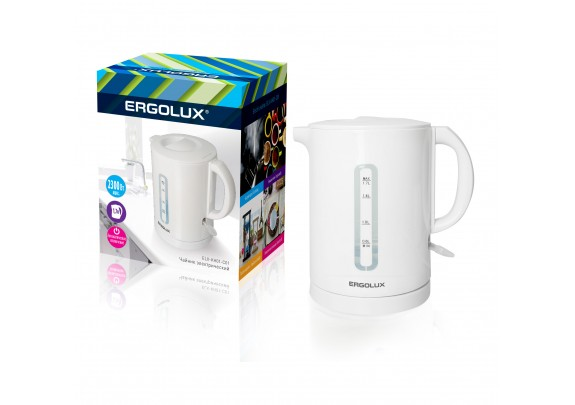Чайник ERGOLUX ELX-KH01-C01 бел плас сп 1,7л 2300W
