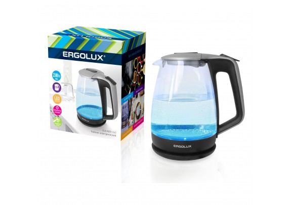 Чайник ERGOLUX ELX-KG01-C42 сер-чер сте 1,7л 2300W