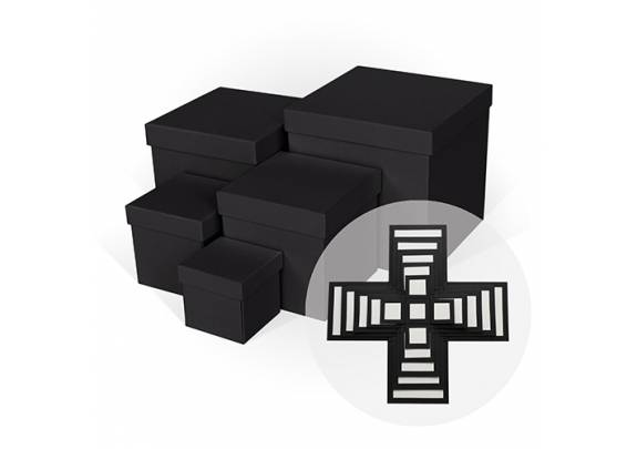 Коробка Д11003.032 Куб/WOW/Черн/5в1/ 210*210*210