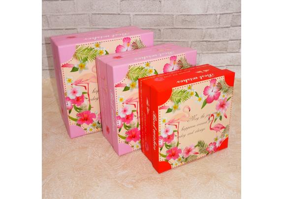 Коробка YN3001-3c Фламинго/14*14*7см
