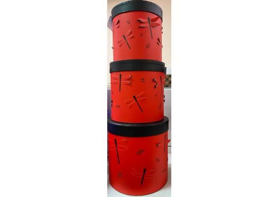 Коробка W5546a  Цилиндр/Стрекозы/красный 19*19