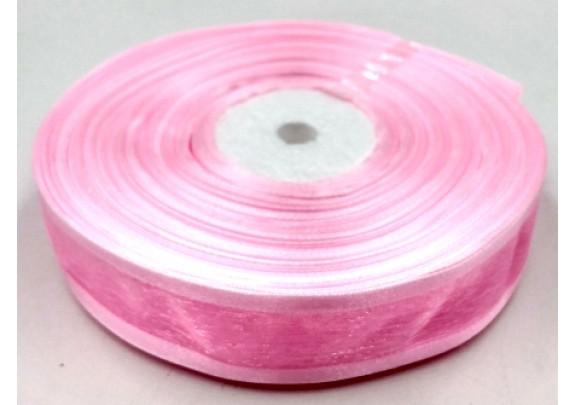 Лента 1004 органза/ш=2,5см/д=27,5м/розовая