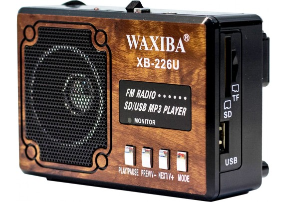 Радиоприемник WAXIBA XB-226 USB/SD/FM/фонарь/дерев