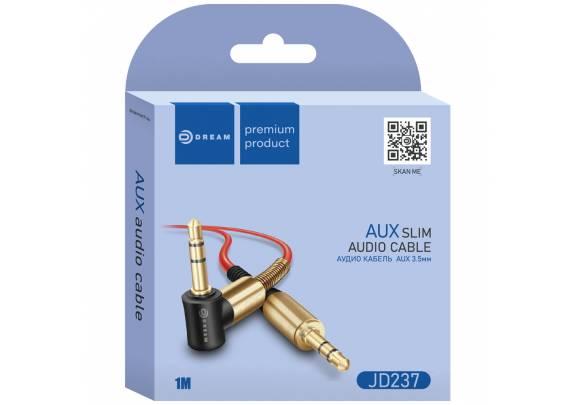 Аудио-кабель JACK  3,5мм DREAM JD237/угл/красн/1м