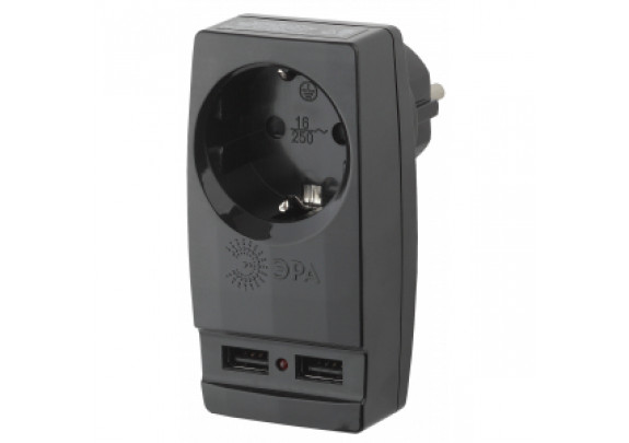 Сетевой адаптер ЭРА SP-1e-USB-B 1гн/2хUSB/зазем/че
