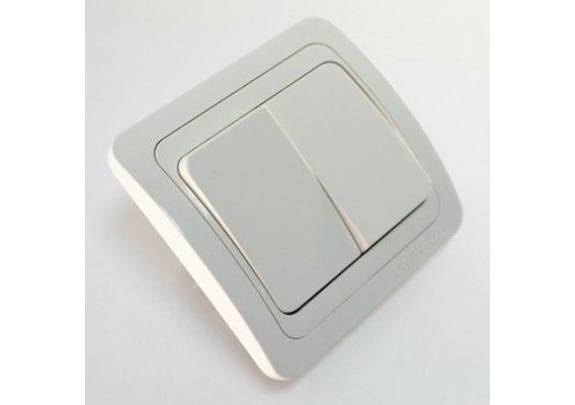 Выключатель 2-кл Валери с/у 10А220В бел.евро B0023