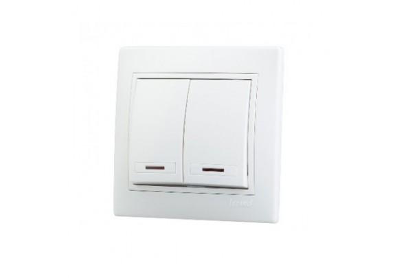 Выключатель 2-кл Magenta V01-11-V22-Sбел/инд в сб.