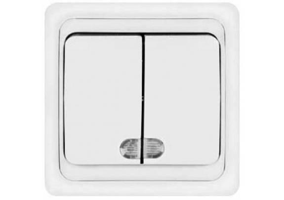 Выключатель 2-кл Валери с/у10А220В бел/подсв B0123