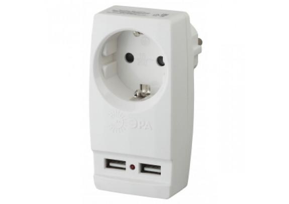 Сетевой адаптер ЭРА SP-1e-USB-W 1гн/2хUSB/зазем/бе