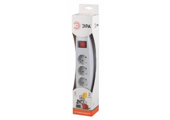 Сетевой фильтр ЭРА SF5es-2m-W/выкл/5гн/2м/белый