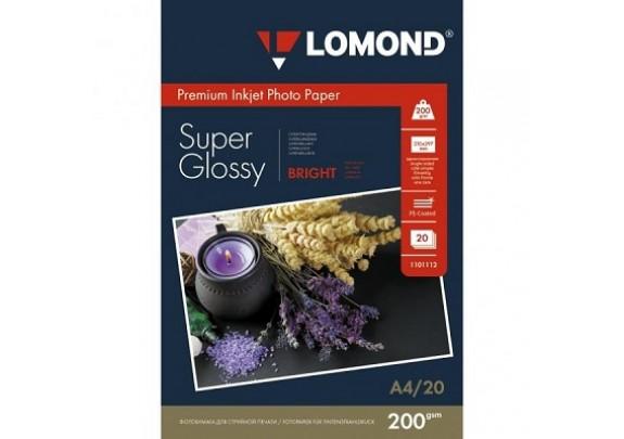 Lomond A4 200г/м2  20л суперглянец Bright 1101112