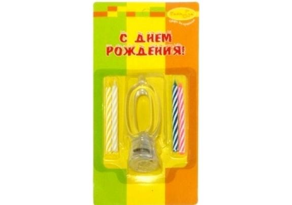 Свечи д/торта держатель МИГАЮЩ.7см/4шт/Цифра 0