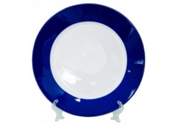Тарелка Белая./19см/синяя кайма/коробка/подставка