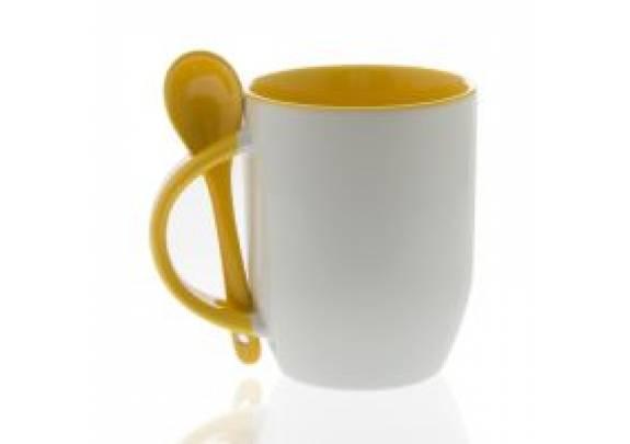 Кружка керамика/Белая/внутри и ложка/Желтая/XT03